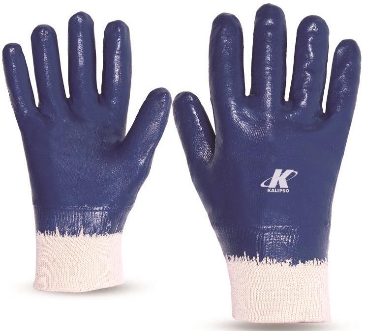 Luva Emborrachada (Malha tricotada) Revestimento Nitrílico Azul