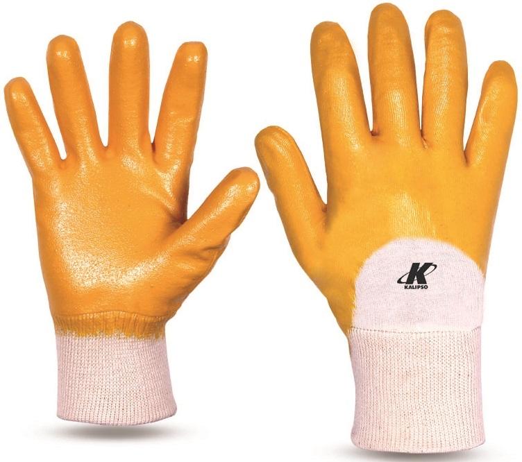 Luva Emborrachada (Malha tricotada) Revestimento Nitrílico Amarela